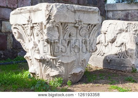 Ruined White Ancient Columns Details In Smyrna