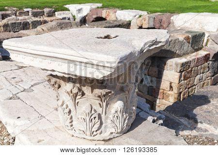 White Stone Columns Details. Ancient Smyrna