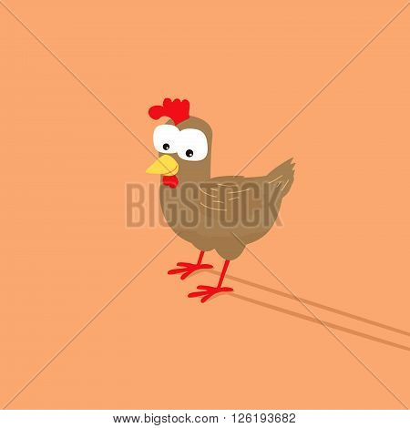 Funny chicken cartoon with silly face expression.