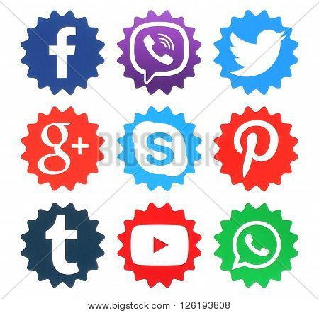 Kiev Ukraine - April 09 2016: Collection of popular social media logos printed on paper:Facebook Twitter Google Plus WhatsApp Pinterest Viber Youtube Tumblr and Skype