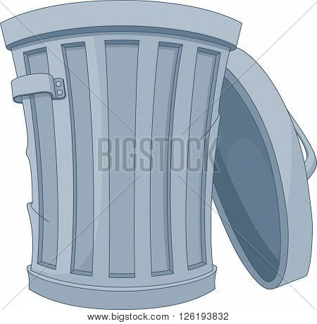 Open street trash can on white background