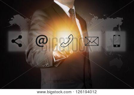 Businessman touching phone button high quality studio shot