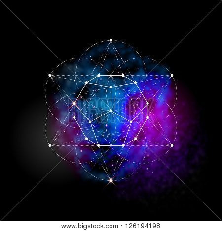 Sacred geometry abstract vector illustration. Flower of life symbol. Metatrons Cube. Neon space glowing background.