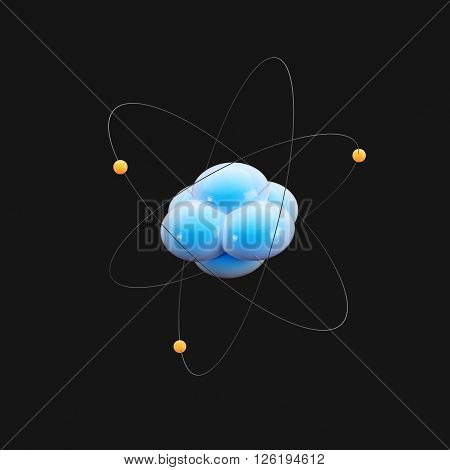 Abstract image of atom on dark background. 3d render