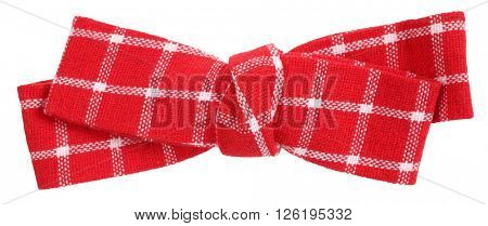 Red white plaid hair bow tie