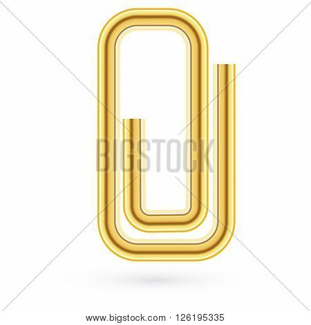 vector illustration. Paper gold clip on paper. Realistic