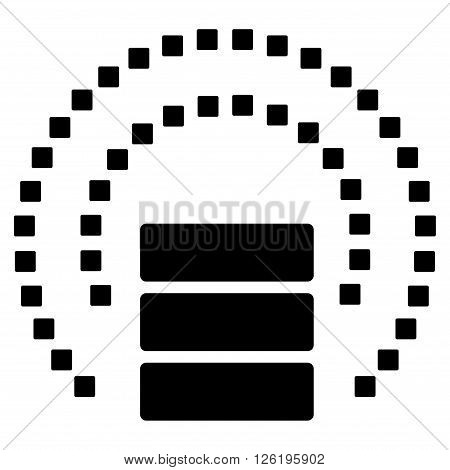 Database Sphere Shield vector toolbar icon. Style is flat icon symbol, black color, white background, square dots.
