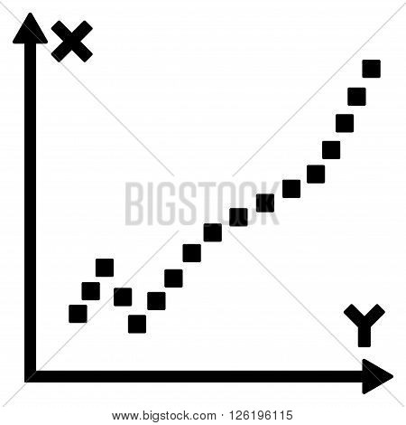 Function Plot vector toolbar icon. Style is flat icon symbol, black color, white background, square dots.