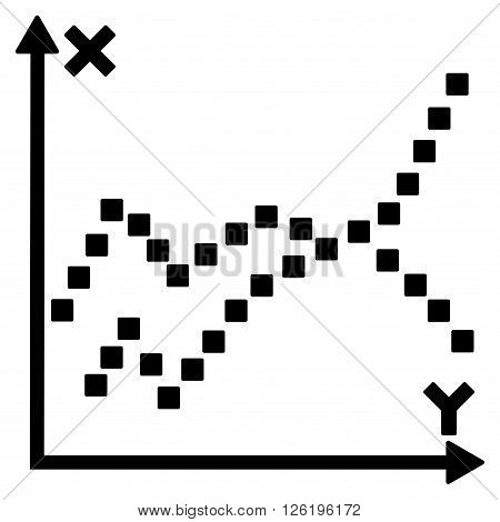 Functions Plot vector toolbar icon. Style is flat icon symbol, black color, white background, square dots.