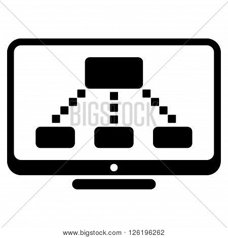 Hierarchy Monitor vector toolbar icon. Style is flat icon symbol, black color, white background, square dots.