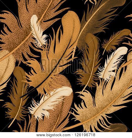 Seamless pattern of bird feathers. Decorative composition of golden bird feathers on a black background. Design of natural motifs. Illustration of vector ornament bird feathers.