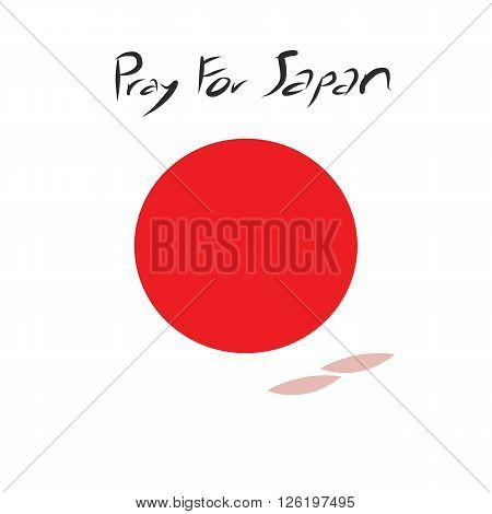 Pray for Japan with cherryblossom drop around the red circle of Japan flag on white background and art letter
