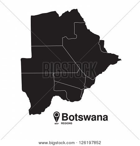 Botswana map regions. vector map silhouette of Botswana