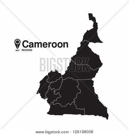 Cameroon map regions. vector map silhouette of Cameroon