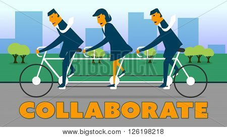 business team collaborating on tandem bicycle in the street