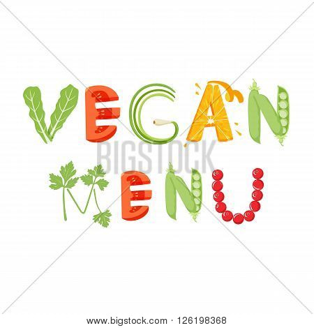 Vegan menu vegetables letter. Healthy food vector letter. Vegan menu lettering with vegetables isolated on white background. Text vector illustration. Vegan food vegetables font.