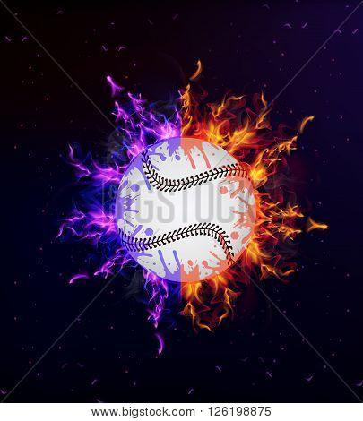 Baseball on fire, vector art illustration sport.