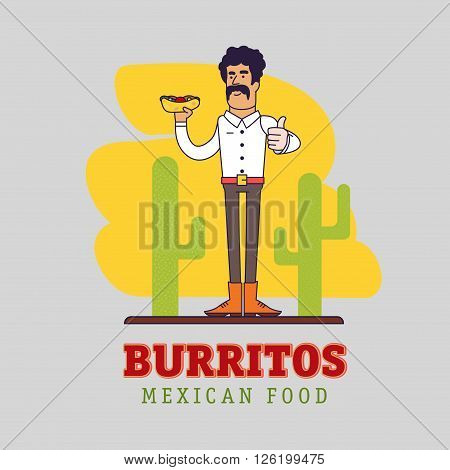 Modern mexican is holding the national fast food - spicy burrito. Illustration of a Mexican with mustache.  Man shows thumb up. Graphic elements for restaurant or cafe