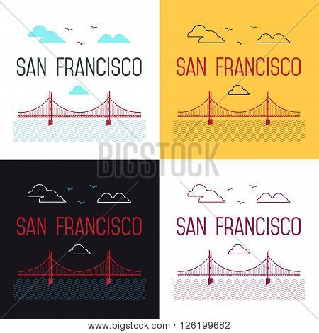 Illustrations set of San Francisco Golden Gate Bridge. San Francisco vector landmark illustration. Line flat style. San Francisco view.  T-shirt graphic.