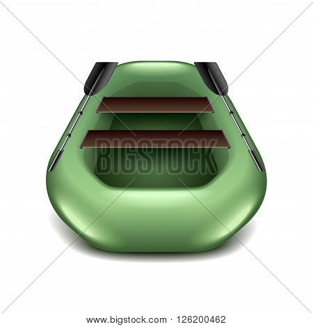 Inflatable boat isolated on white photo-realistic vector illustration