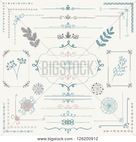 Decorative Colorful Hand Sketched Rustic Floral Doodle Corners, Branches, Frames, Dividers, Text Frames, Border Lines, Page Calligraphic Design Elements. Hand Drawing Vector Illustration.