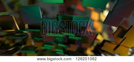 Rapidly Rotating Shiny Green Metal Rectangles. Abstract Illustration