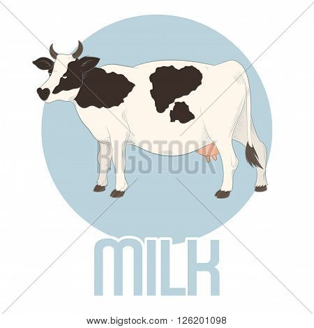 Vector image of the cow milk banner