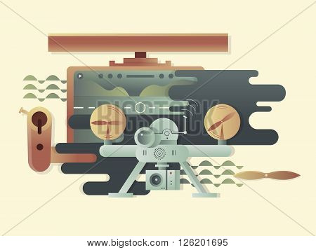 Quadrocopters design flat. Helicopter or multicopter, technology aircraft drone. Vector illustration