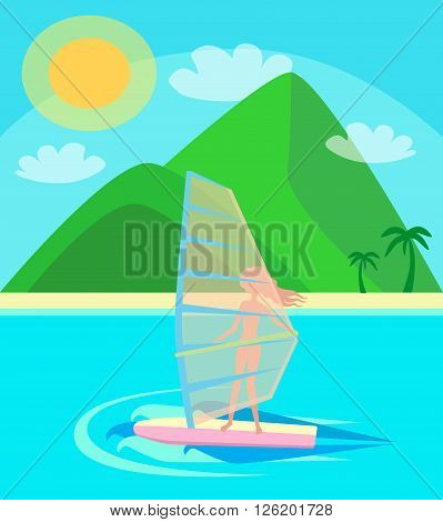 vacation, summer, heat, young girl with pleasure rides on the windsurfing on the waves of the ocean in the background beach with palm trees, green mountains and blue sky vector illustration