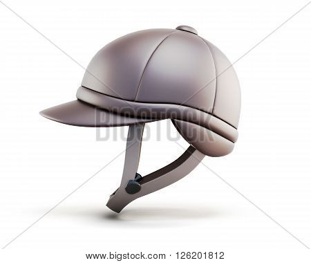 Helmet for horseriding isolated on white background. Side view. 3d render image.