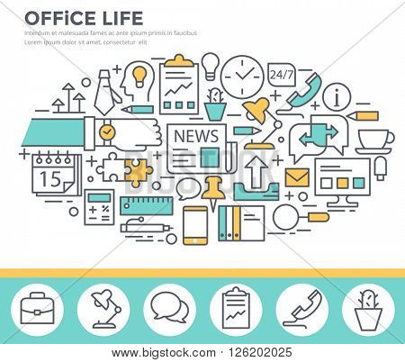 Office life concept illustration, thin line, flat design