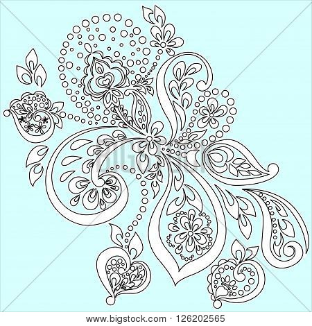 vector black and white pattern on a light blue background in oriental style boho