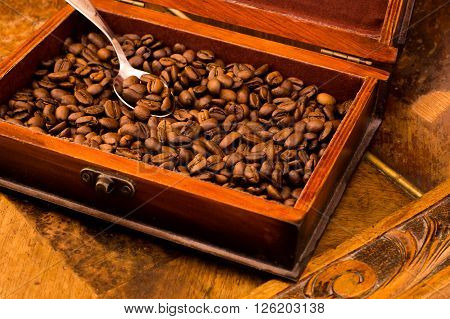 coffee, flavor, grain, arabica, casket, aroma, spoon