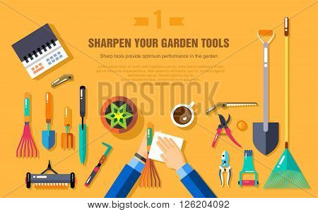 Stock vector illustration set of gardening tools for working in the vegetable garden top view, cleaning garden accessories in flat style element for info graphic, website, icon, games, motion design