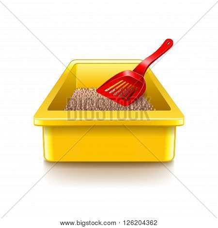 Cat litter tray isolated on white photo-realistic vector illustration