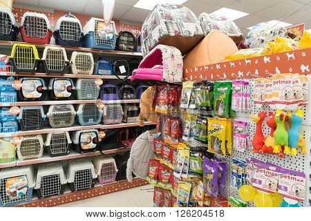 Moscow, Russia - April 16.2016. Carriers and couches in a Four paws pet store