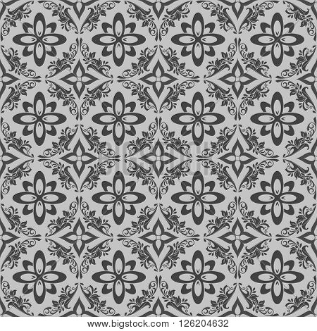 Seamless monochrome black and white floral vector ornament.