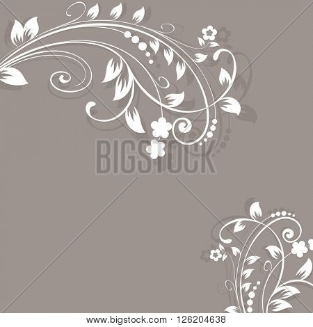 Floral branches beige vector background with copy space.