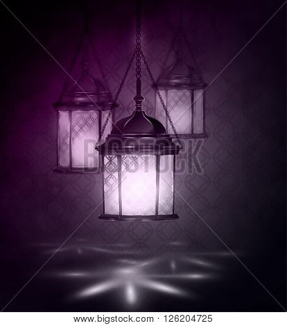 Intricate Arabic lamps with lights for Ramadan Kareem and other events on a bokeh background