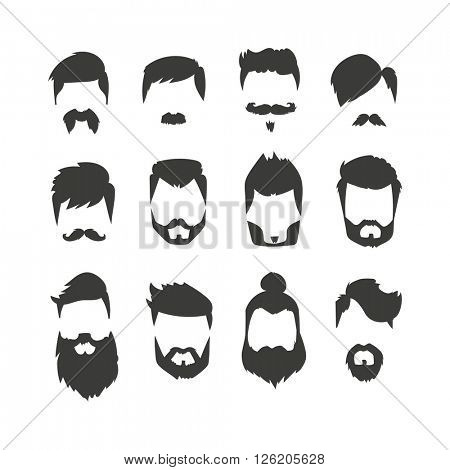 Mustache beard set hairstyle black silhouette fashion vector illustration.