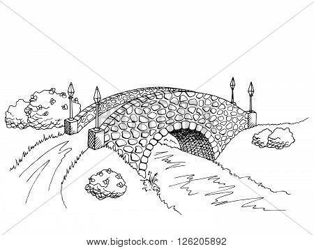 Bridge graphic art black white river landscape illustration vector