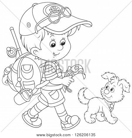 Black and white vector illustration of a little boy walking with his dog, carrying a backpack and holding a map and a compass
