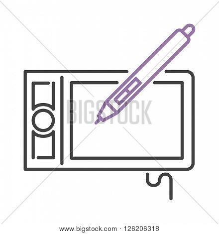 Hand drawing digital stylus sensor pen design technology art line vector icon.
