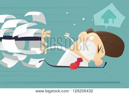 Businessman running away from jobs, cartoon, vector