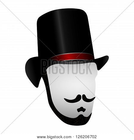 Black Silhouette Gentleman Isolated on White Background. Mustache and Beard