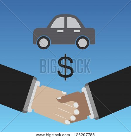 Selling car shaking hands for a bussines deal
