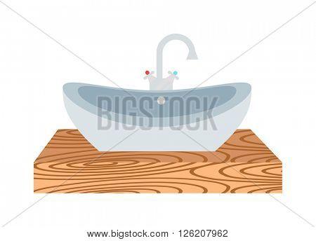 Washbasin bathroom cartoon flat vector illustration.