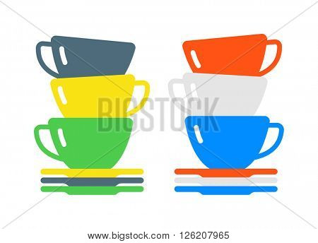 Red cup coffee tea or drink cafe morning beverage kitchen accessory flat vector.