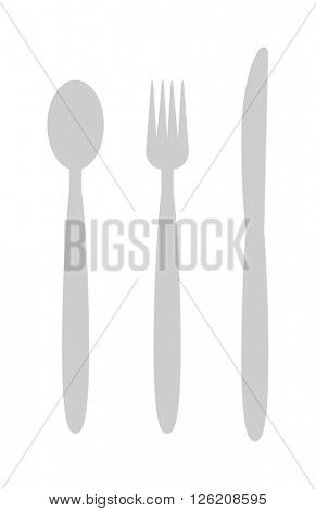 Cutlery set with fork, knife and spoon table restaurant silverware flat vector illustration.