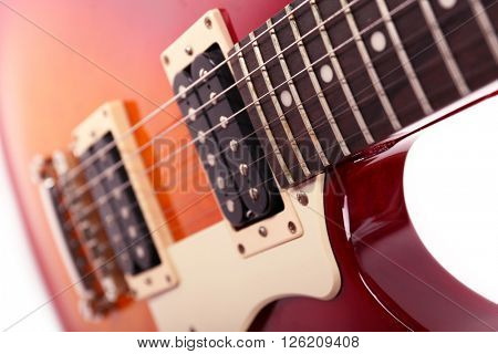 Strings of electric guitar, close up